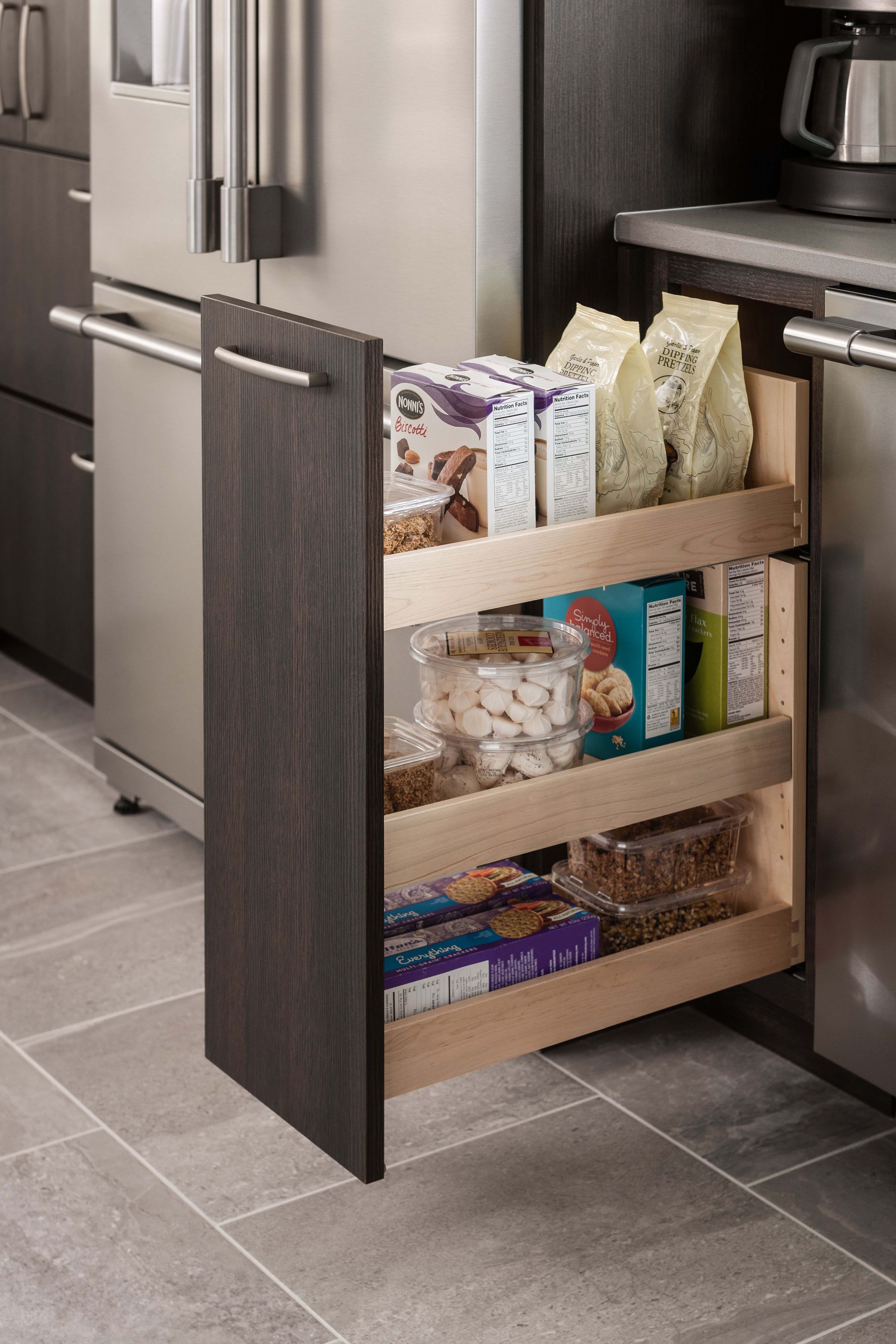 Add Convenience To Your Kitchen With A Pull Out Pantry Near The Cooking Area Items Can Be Accessed From Both Sides Storage Kitchen Cabinetry Schuler Cabinets