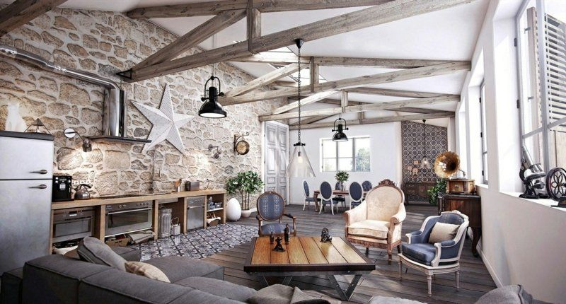 wohnzimmer mit offener küche im grauen landhausstil | landhaus