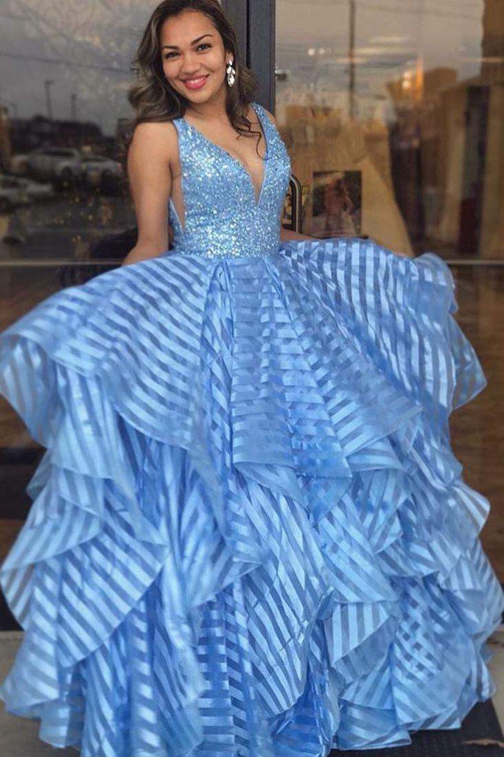 Princess v neck plava duga prom dress modern dresses pinterest