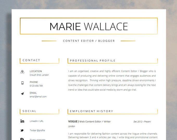 CV Template   Résumé Template for Word + Cover Letter + ...