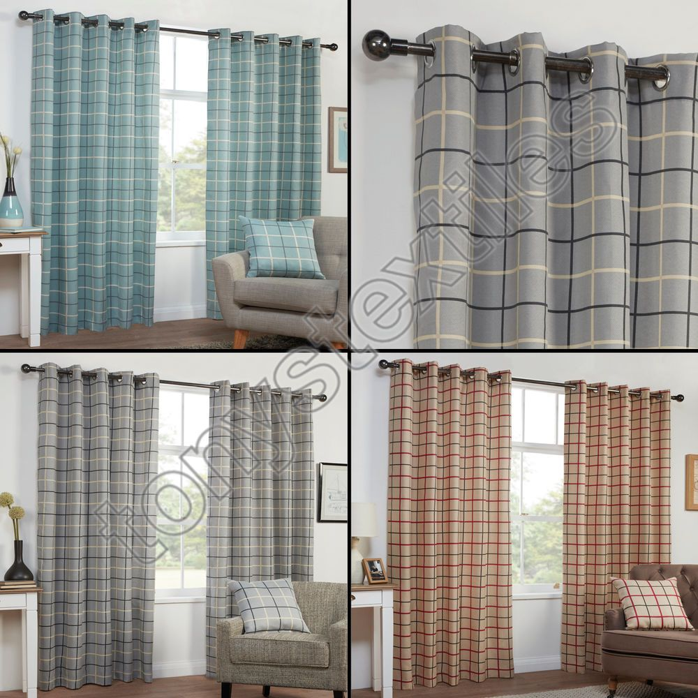 Textured check striped ring top lined pair eyelet curtains red grey