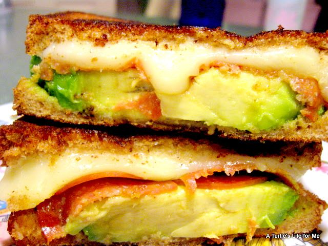 Grilled Cheese...  Adult-style.  Avocado, mozzarella & tomatoes for me!  (Didn't I already pin this?  YUUMM.....I want this NOW!