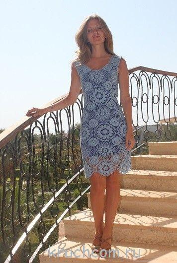 Вязаное платье на лето схема