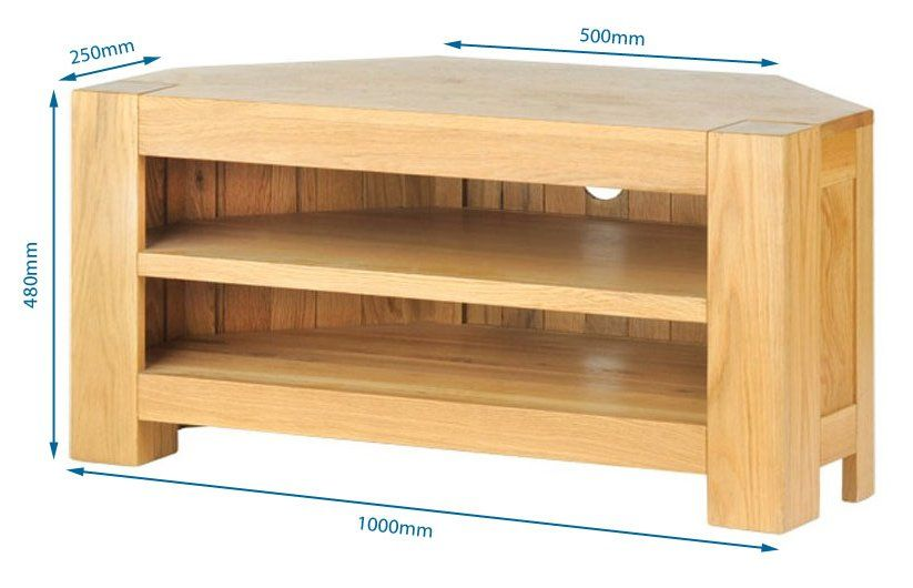 Solid Oak Chunky Corner TV Unit AVT02