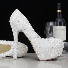 a94bf5751 Moda de luxo cristais pérolas sapatos de casamento personalizado 11 cm de  salto alto sapatos de noiva sapatos Prom mulheres(China (Mainland))