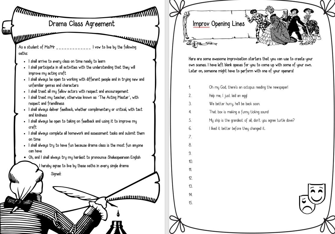 Drama Handouts A Fun Class Contract And Improv Worksheet Find