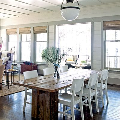 Tour The 2010 Seabrook Ultimate Beach House Beach House Dining Room Coastal Dining Room Cottage Table Coastal living cottage dining room
