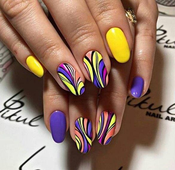 Nails 2017, Pedicure, Acrylic Nails, Yellow Nail Art, Purple Nail, Fancy - Pin By Sabrina On Manis & Pedis Nails, Nail Art, Nail Art Designs