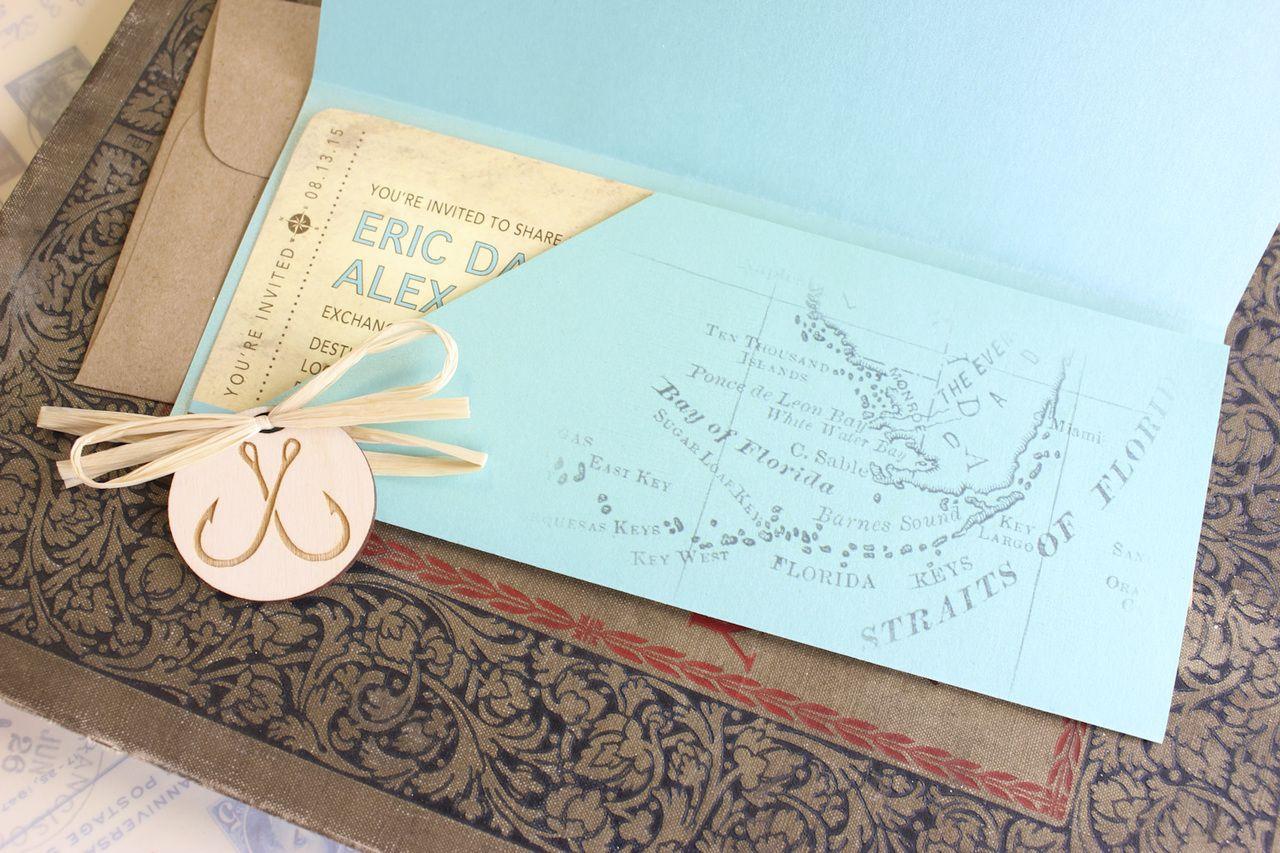 Wedding Invitation Envelopes Canada: Nautical Boarding Pass Wedding Invitation (Florida Keys