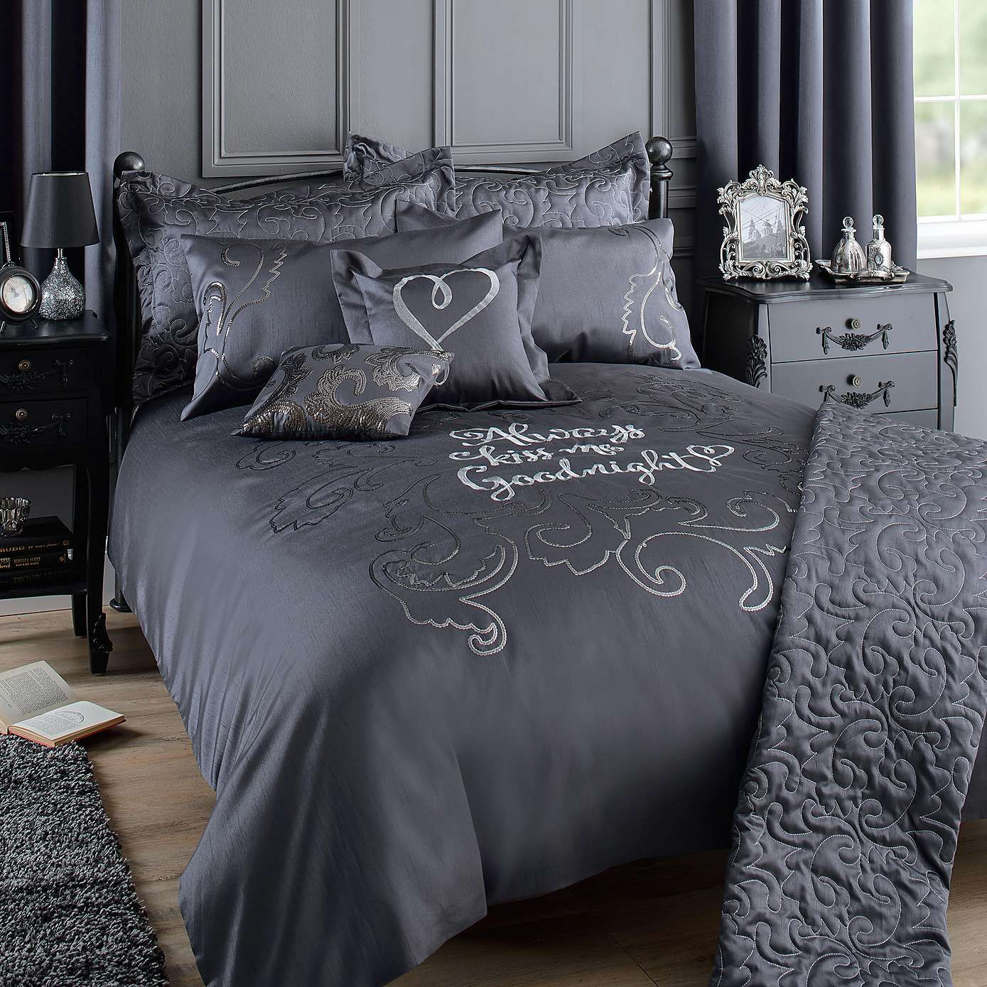 Kiss Me Goodnight Charcoal Bed Linen Collection | Dunelm