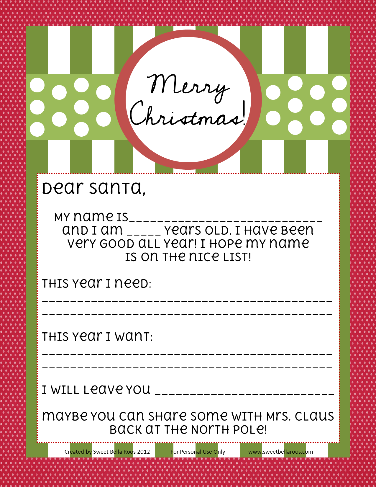 Free Printable Letter to Santa available blank or fill in the blank