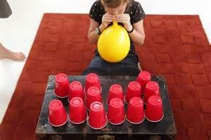 1 minute cup game   For this game you will need  	◦	15 solo cups  	◦	2 packs of balloons