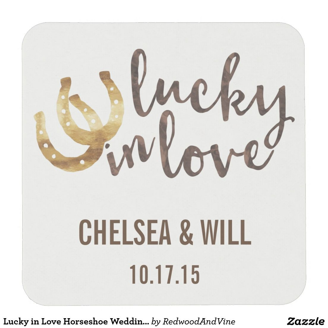 Lucky in Love Horseshoe Wedding Coasters - Design features two ...