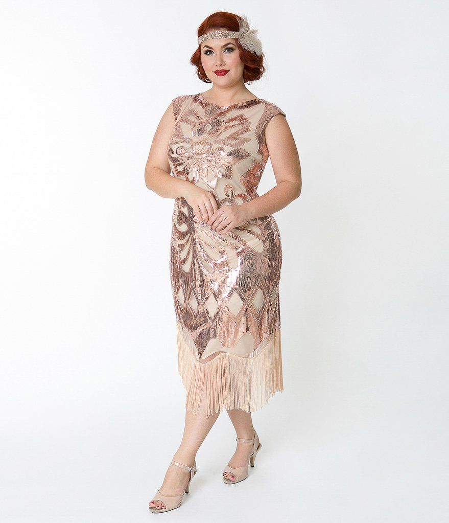 Plus Size 1920s Style Beige \u0026 Rose Gold Sequin Edwige