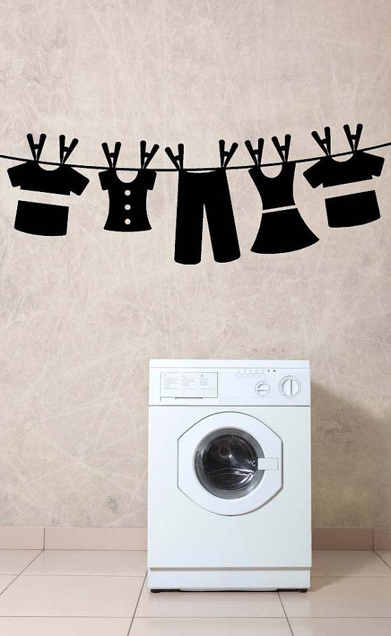 Waslijn Wasserij Room Decor Wasserij kamer door VinylWallAccents
