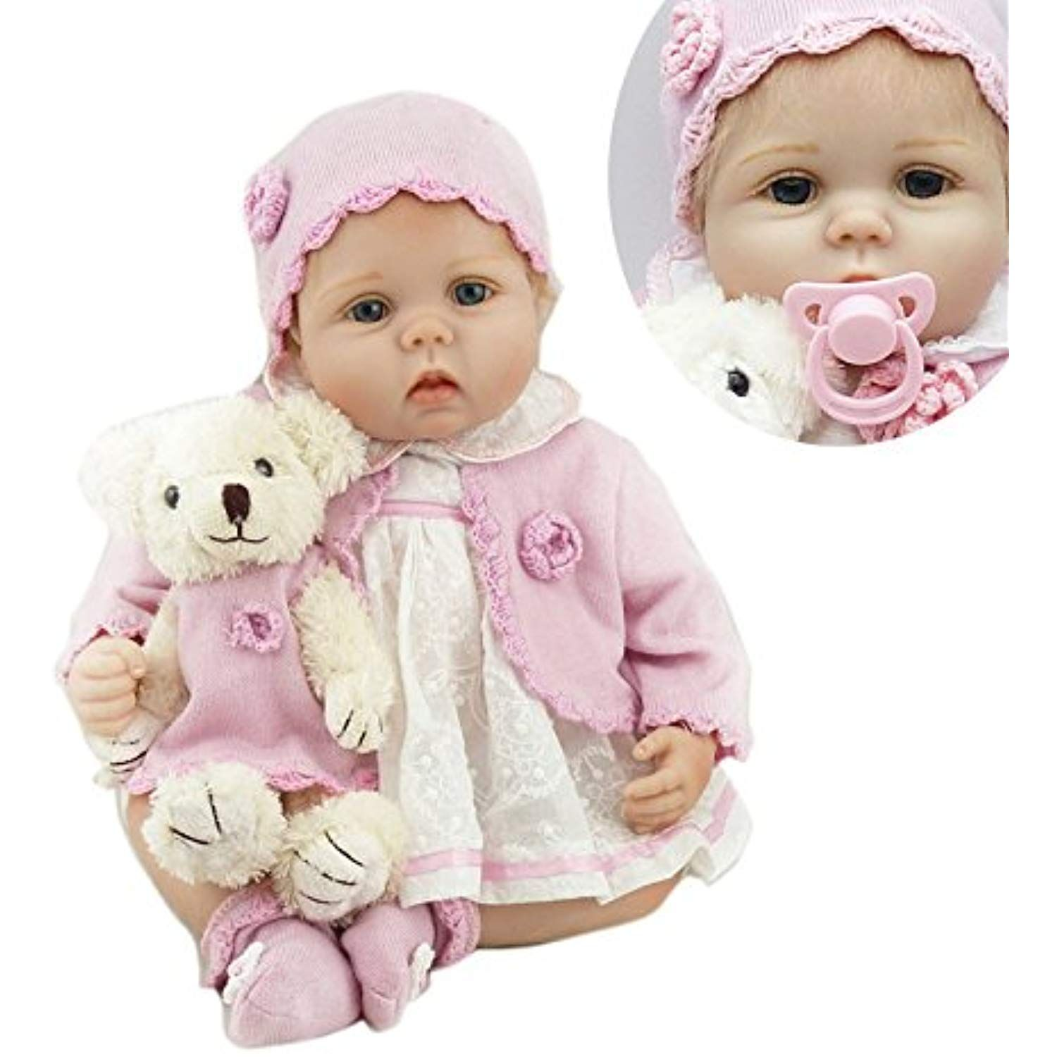 Pinky Lifelike 22 Inch 55cm Soft Silicone Handmade Reborn Baby Girl Dolls Realistic Looking Newborn Baby Doll Toddler Cute Birthday Gift