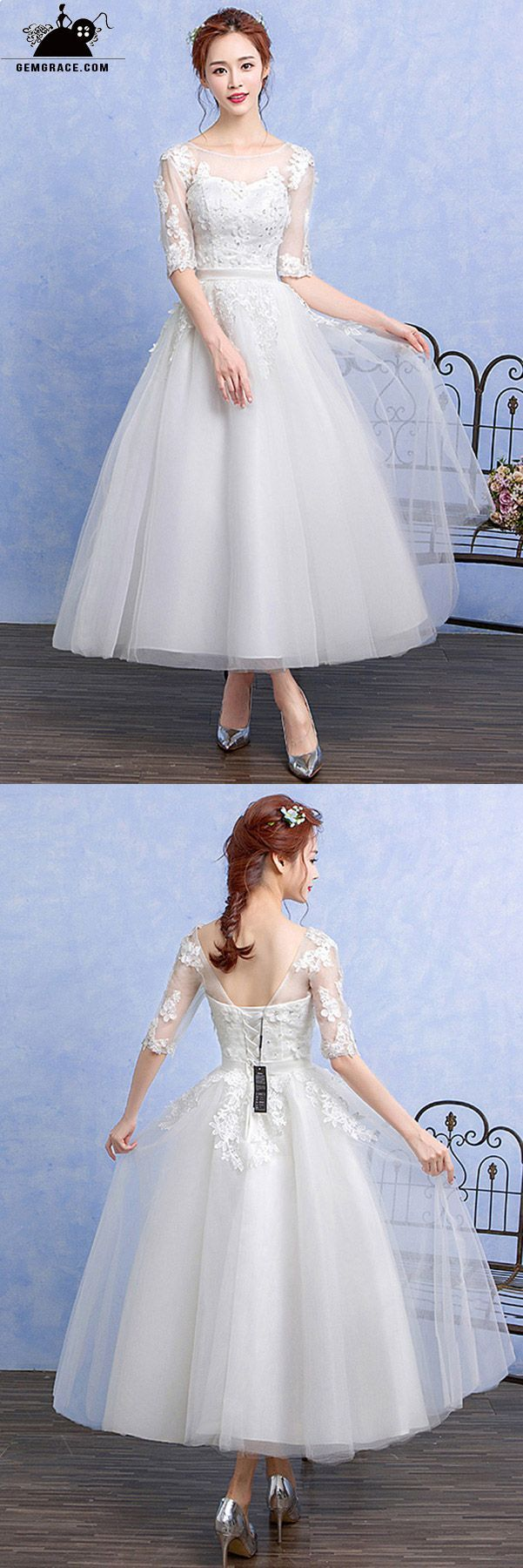 Wedding dress for older bride  Tea Length Beaded Wedding Dress with Sheer Half Sleeves  Mature