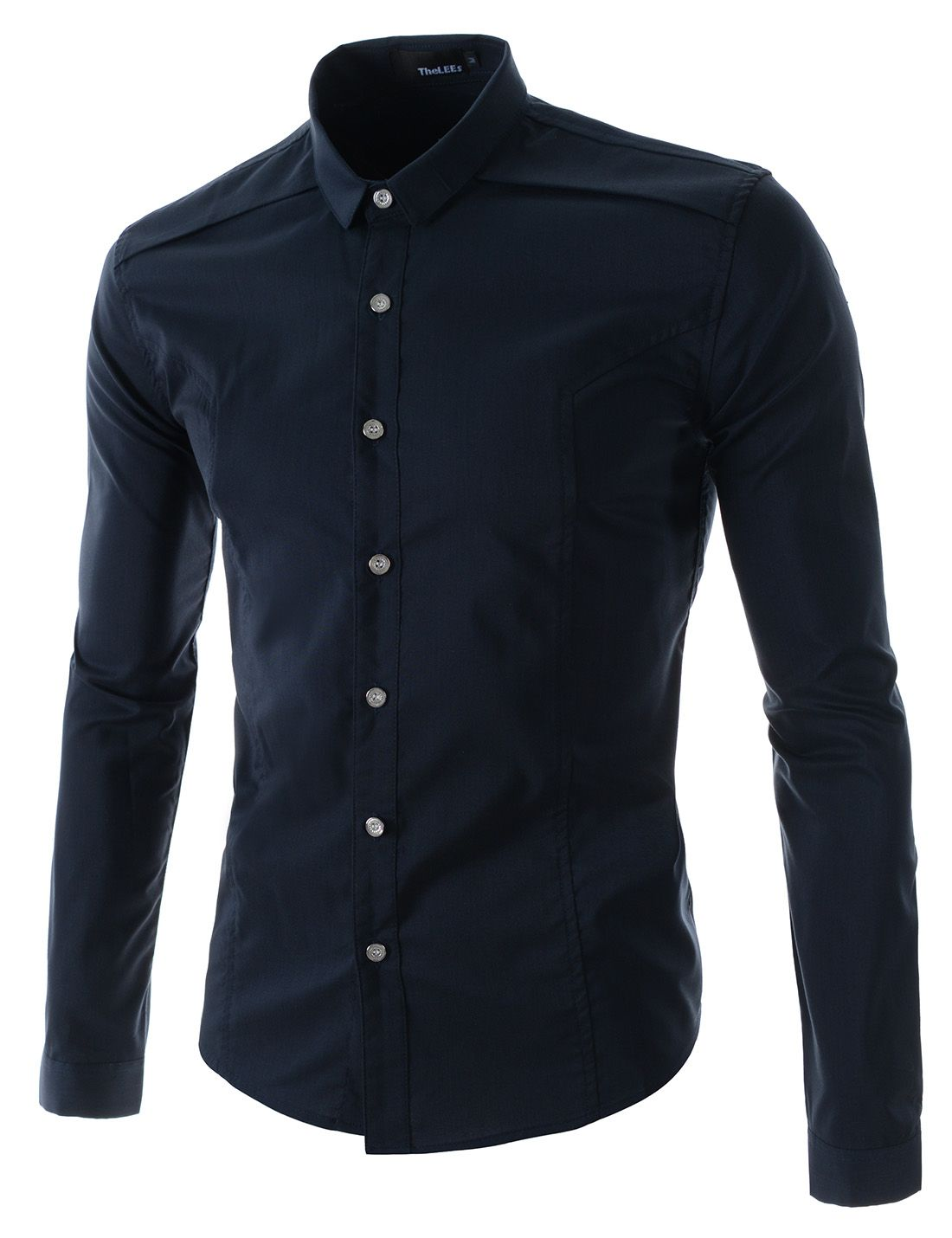 d6283ba00a806 (N361-NAVY) Mens Contrast Color Button With Add Cloth In Shoulder Long  Sleeve Shirts