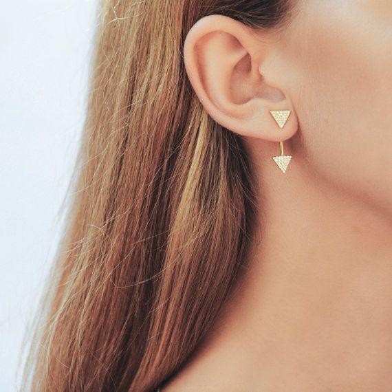 Gold Triangle Ear Jacket Spikes Cz Earjacket Minimalist Dainty Pave Diamond Earrings