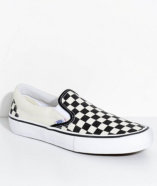 e714a4ab09f Vans Slip-On Pro Black   White Checkered Skate Shoes