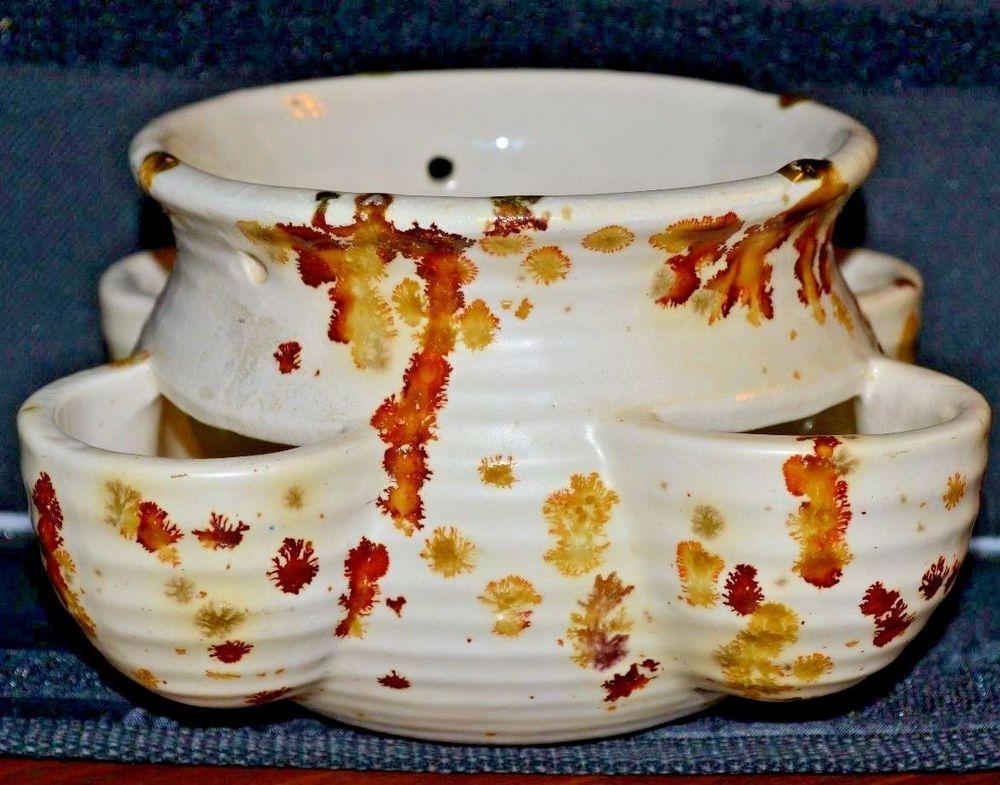 Strawberry Jar Pot Planter Splatter Paint Ceramic (Excellent Condition)