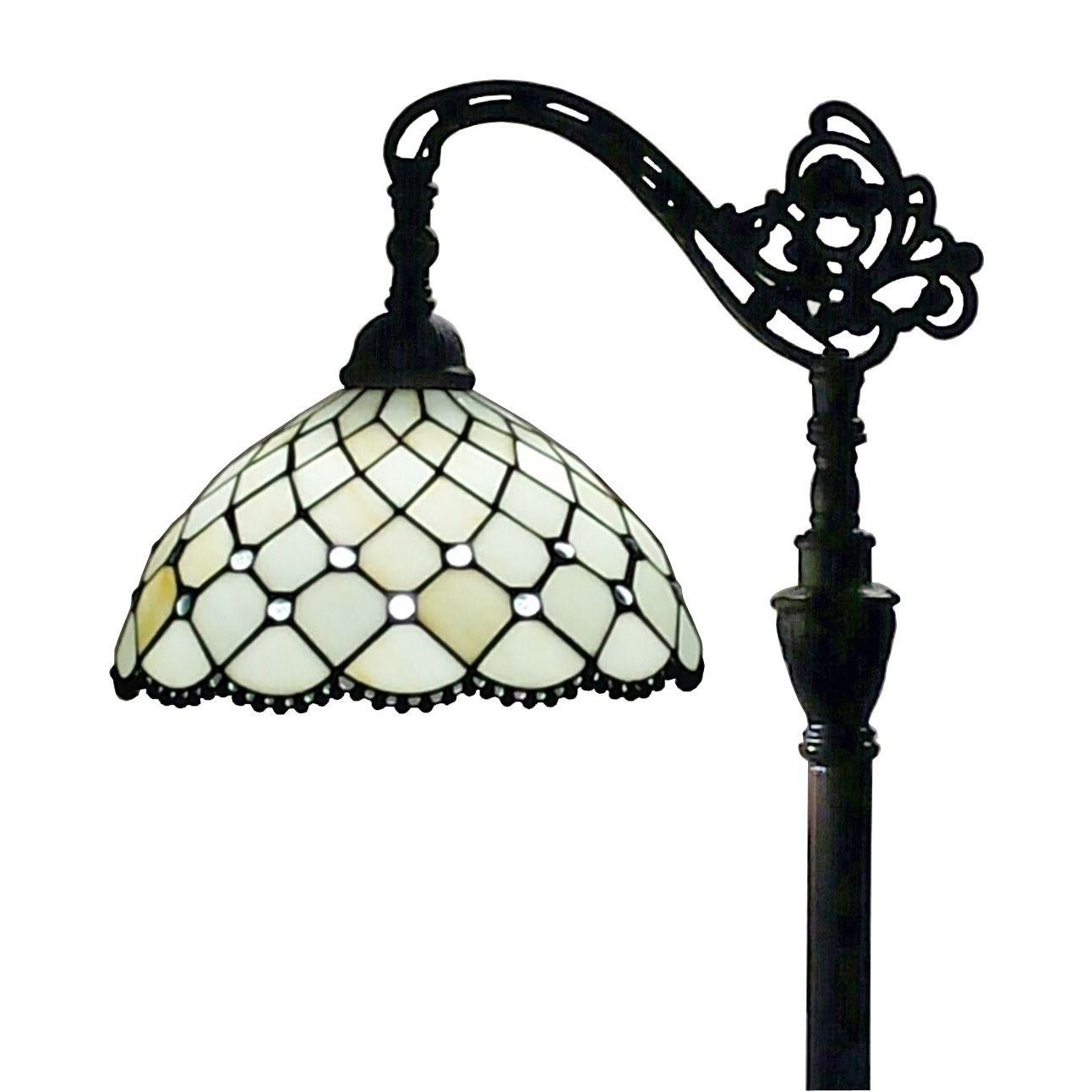 Amora lighting tiffany style jeweled reading floor lamp 62 in amora lighting tiffany style jeweled reading floor lamp 62 in adjustable shade aloadofball Images