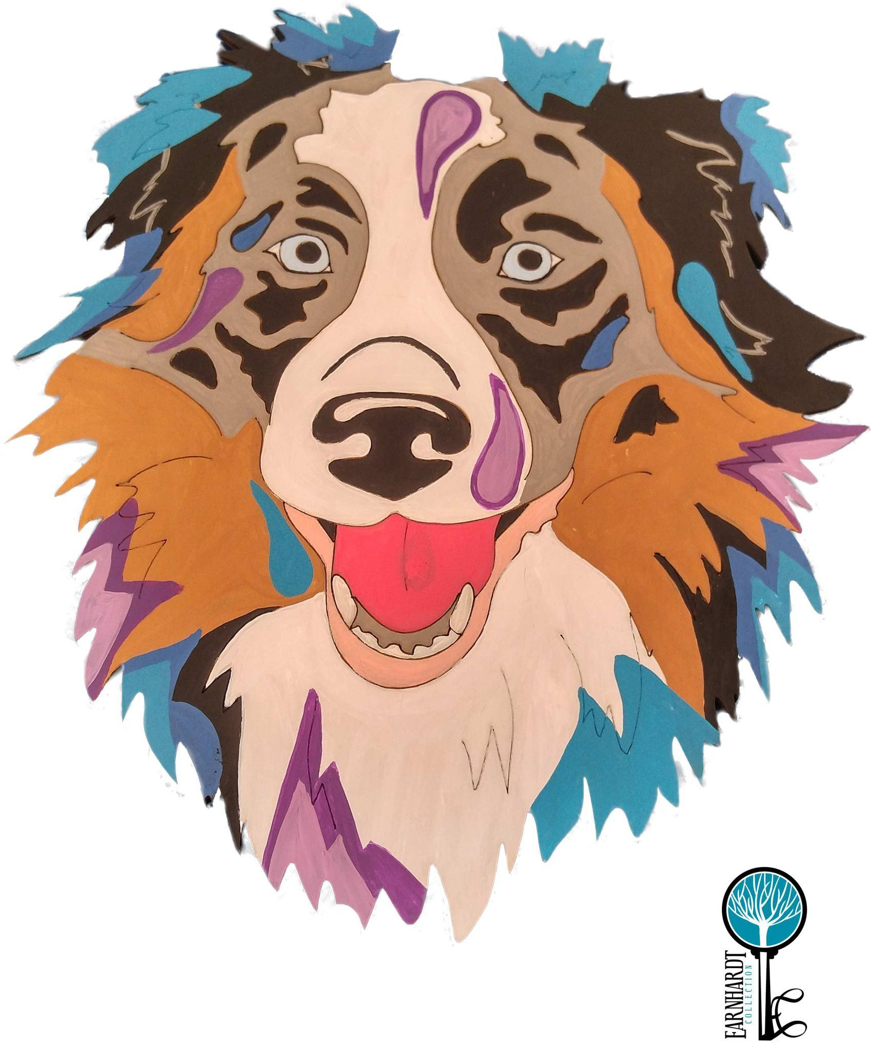 Australian shepherd diy pop art paint kit earnhardt collection paint your own pop art australian shepherd fun do it yourself painting kits for beginning painters up to advanced each kit includes a wood cutout solutioingenieria Choice Image