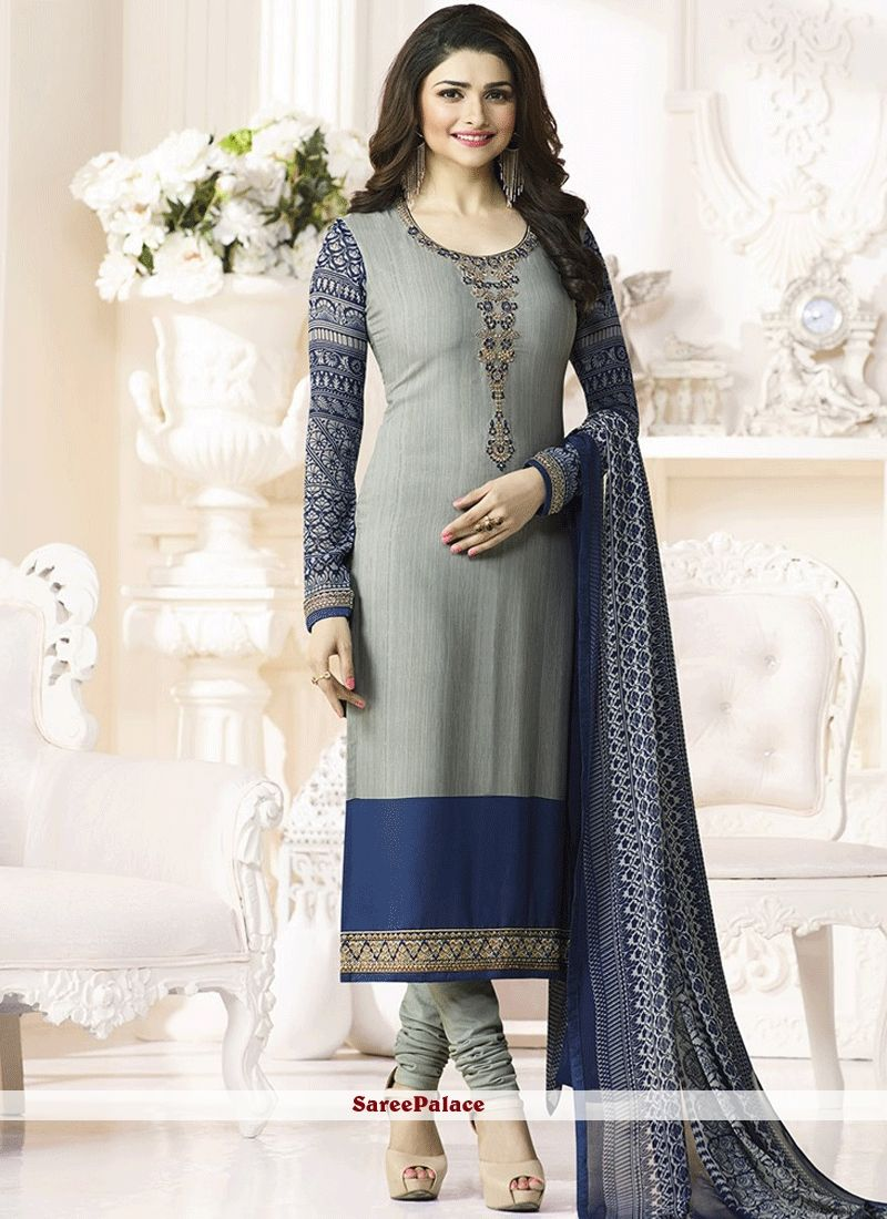 f4243ed299b Prachi Desai Grey Faux Crepe Churidar Designer Suit in 2019 ...
