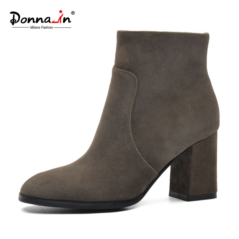 411561850f5 DONNA-IN sheep suede ankle boots fashion square toe thick heel women boots  high heel genuine leather lady boots