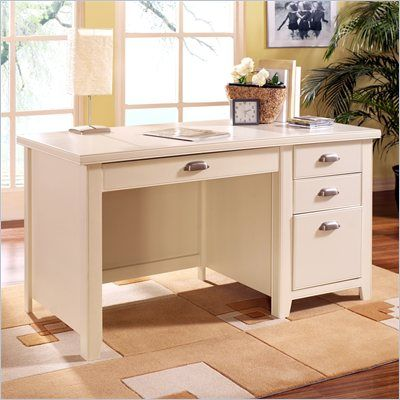 Kathy Ireland Home By Martin Furniture Tribeca Loft Single Pedestal Wood  Writing Desk In White   TW540   Lowest Price Online On All Kathy Ireland  Home By ...