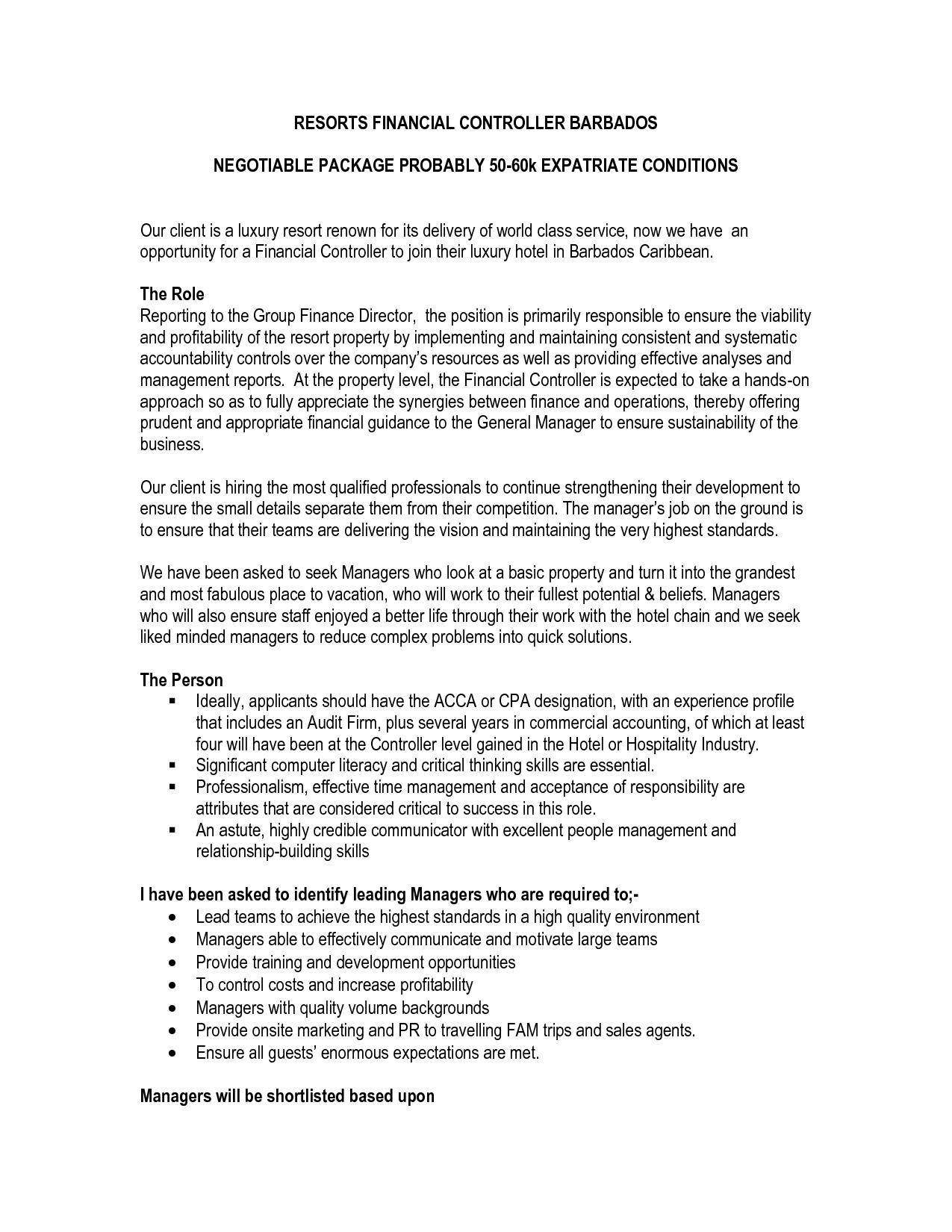 sample financial controller resume financial restaurant district