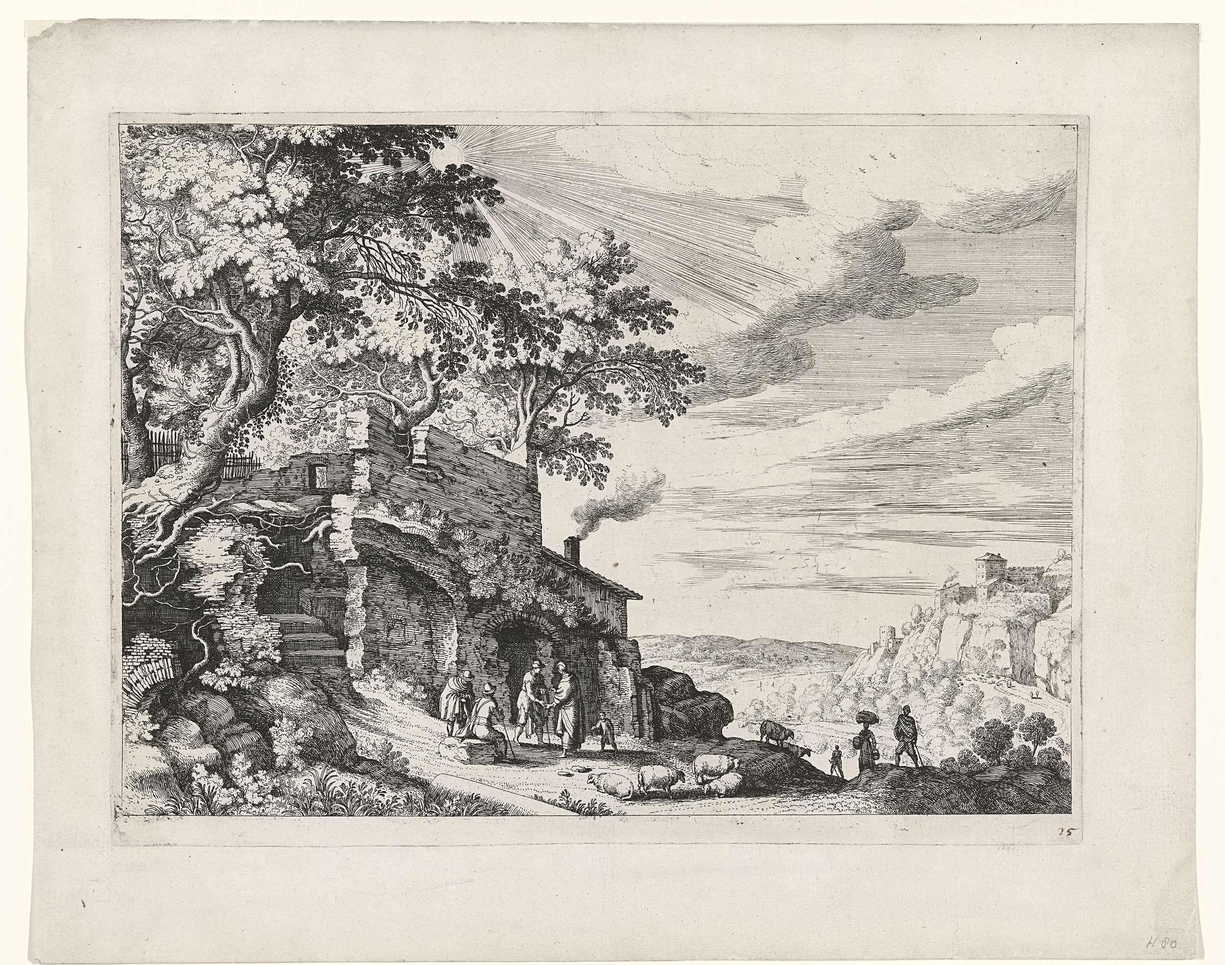 Willem van Nieulandt (II) | Herders bij een ruïne, Willem van Nieulandt (II), Paul Bril, 1594 - 1635 | Voor een ruïne, die deels is overwoekerd door bomen, staan enkele herders met hun schapen. Rechts uitzicht op een vallei. Prent uit een serie Italiaanse landschappen.