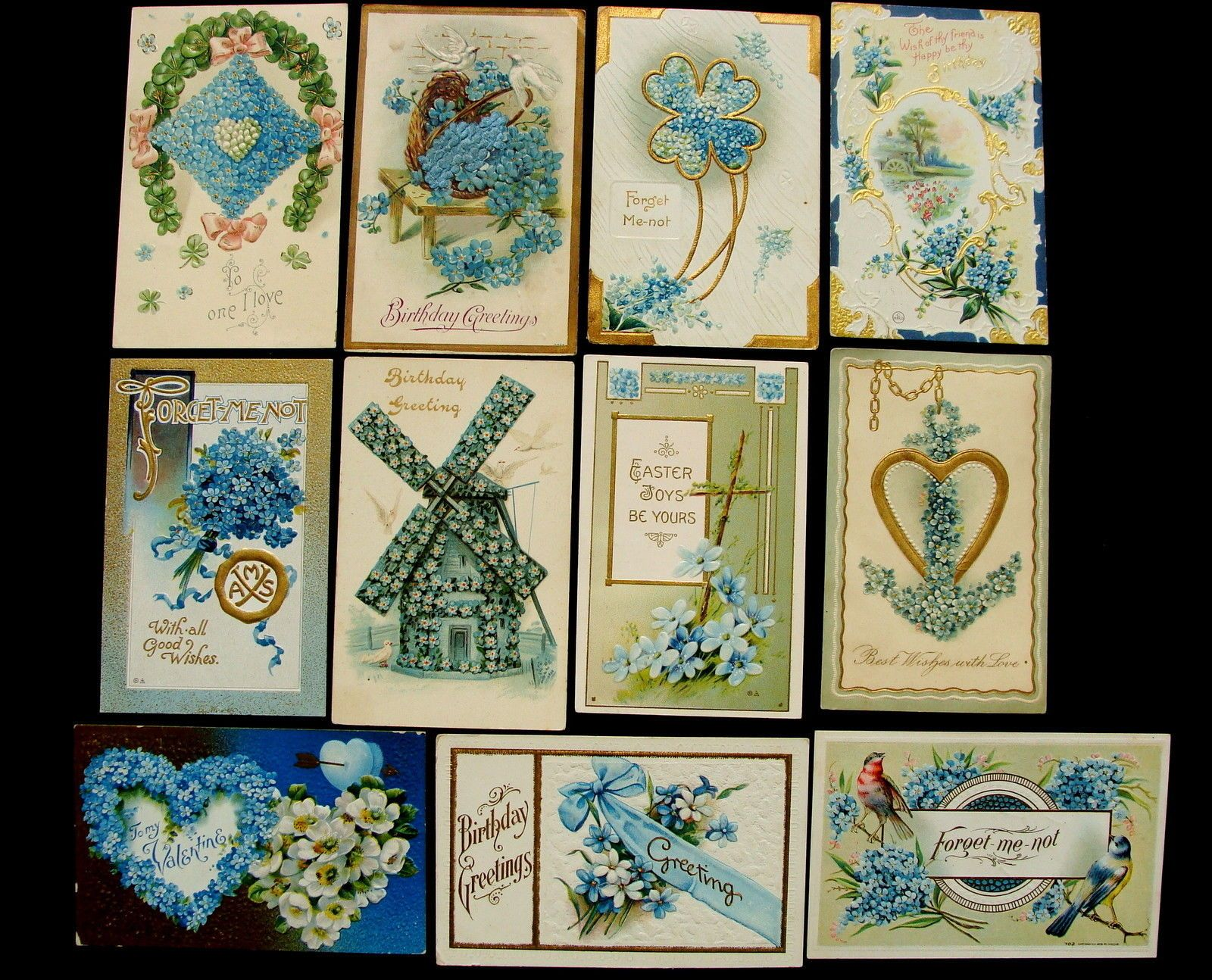23 Assorted Vintage Holiday Greeting Nice Forget Me not Flowers Postcards Lot | eBay