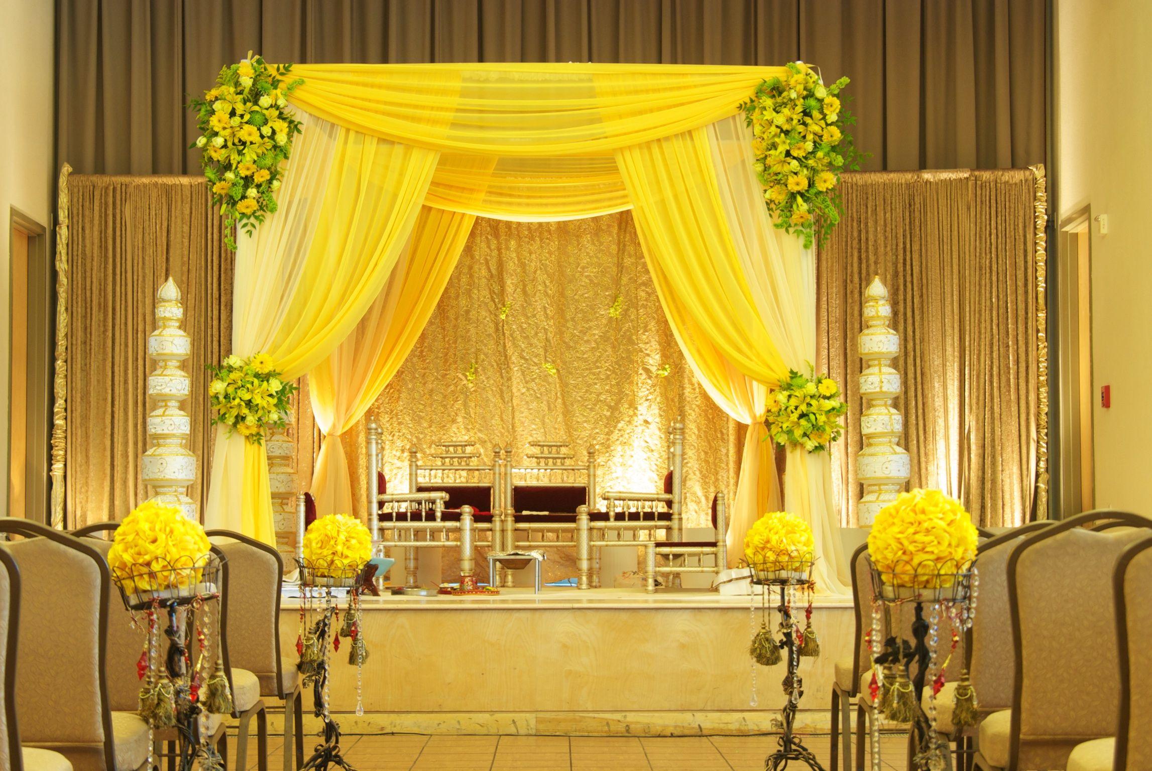 yellow fabric style Mandap | Wedding mandap, Wedding decor ...