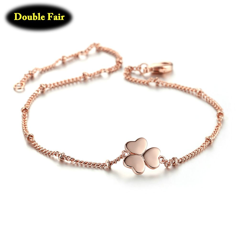 Fashion rose gold color cute love heart charm bracelets bangles for