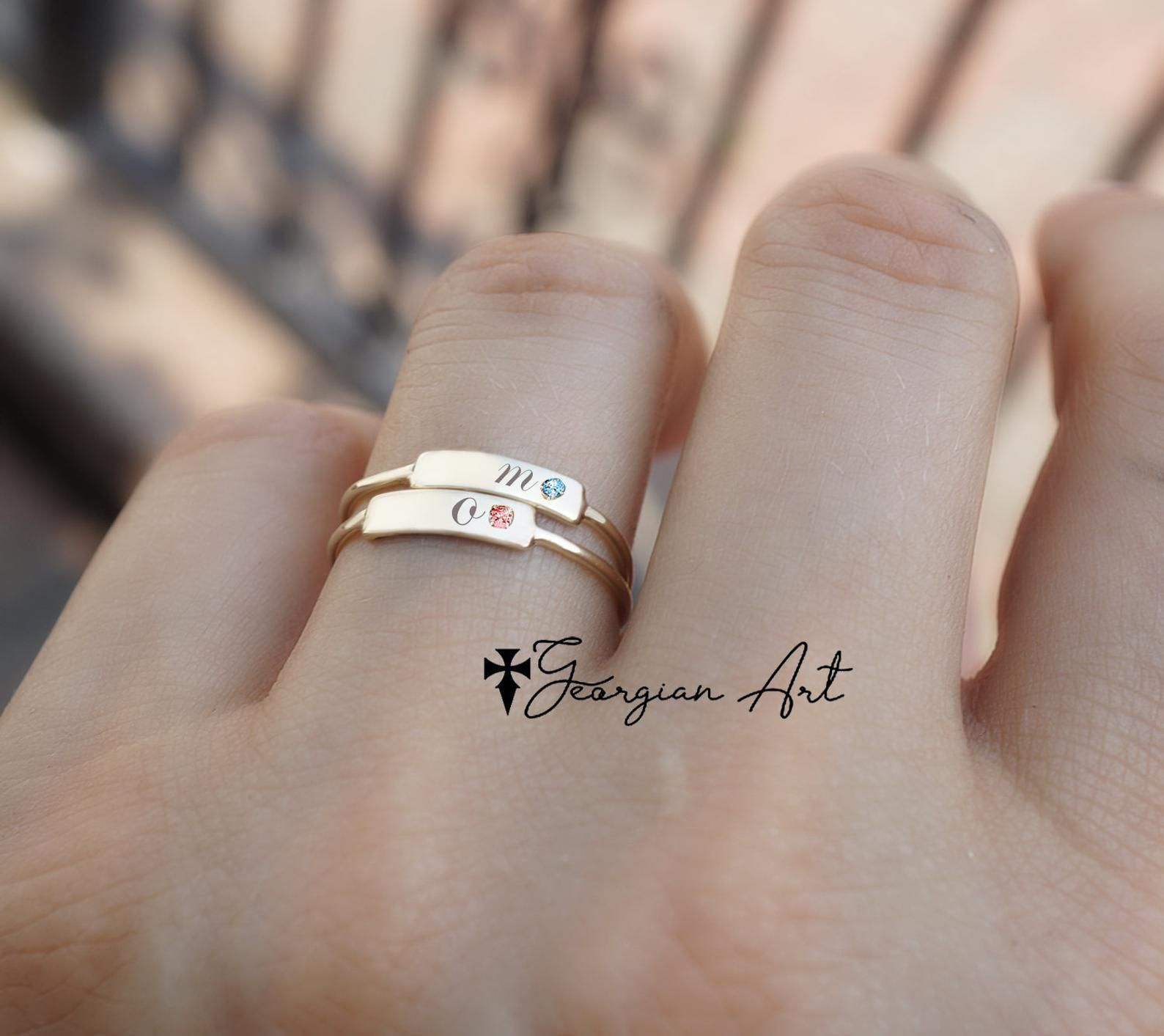 Solid Gold Stackable Bar Ring With Genuine Birthstone Image 0