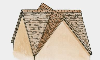 Illustration of two gables front and side and a valley roof - Illustration by  sc 1 st  Pinterest & The Gable - A Triangle of Explanations | Architecture Attic and ... memphite.com