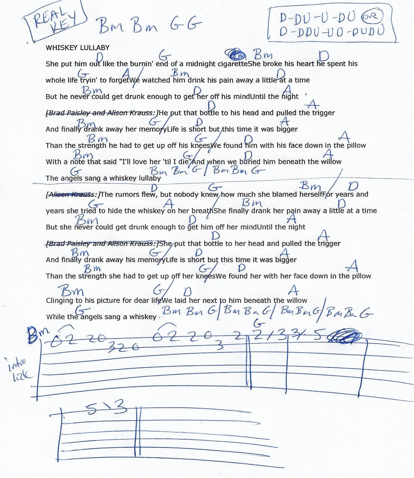 Whiskey Lullaby Brad Paisleyallison Krauss Guitar Chord Chart In