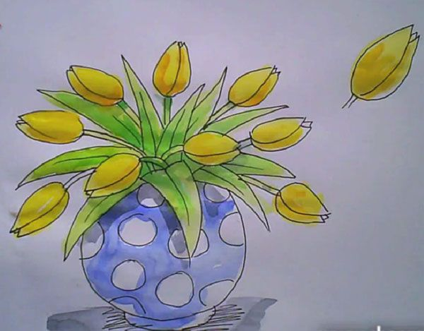 How To Draw A Vase Of Tulips This That Pinterest