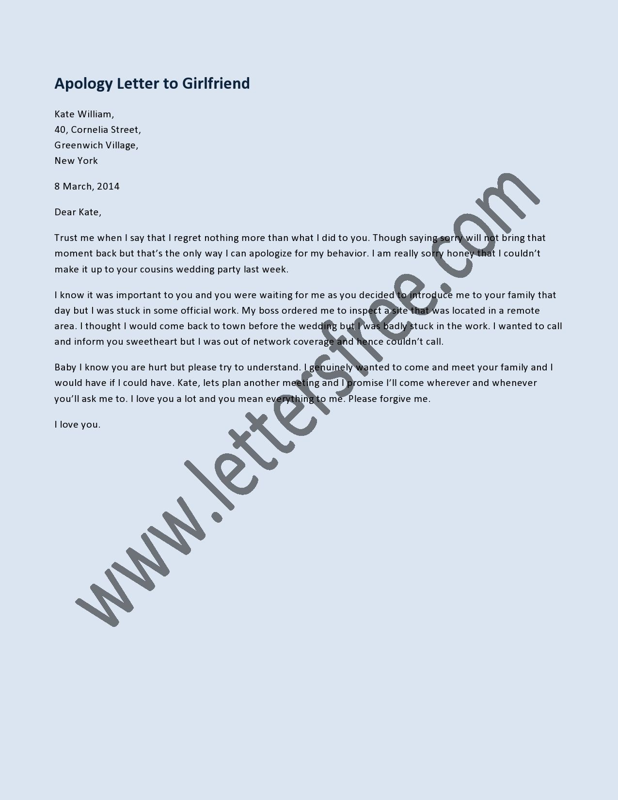 Sample of Apology Letter to Girlfriend, Sorry Letter Example