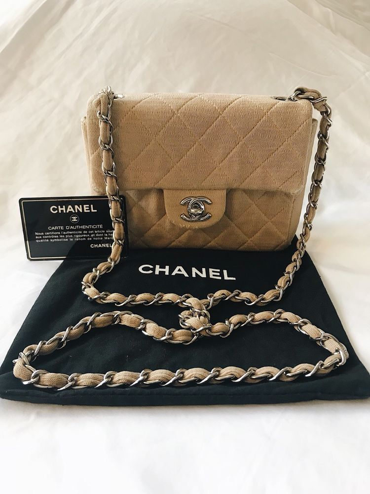 c21b77fee205 CHANEL Vintage Mini Bag Quilted Cotton Beige Silver Chain #CHANEL #Crossbody