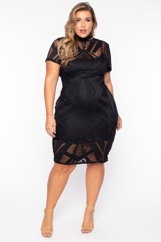 Plus Size Mesh Burn Out Short Sleeve Dress Black Plus Size Black Dresses Black Short Dress Plus Size Party Dresses [ 1500 x 1000 Pixel ]
