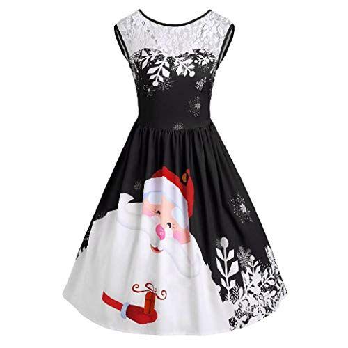 VICGREY Vestito di Natale delle Donne Swing Senza Maniche Dress del  Pannello Vintage Stampato Cocktail Dance e93fabb8760