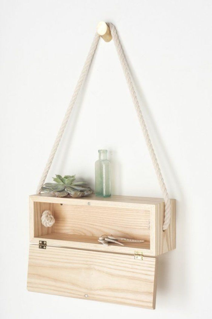 Hängeregal bücher selber bauen  regal selber bauen hängende wandregal aus holz pflanze glas seil ...