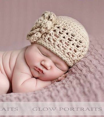 Crochet Hat Pattern Baby Crochet Hat V Stitch Flower Flapper Beanie
