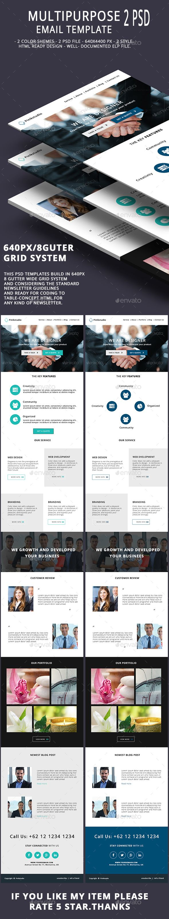 Multipurpose Email Template V9 | Template, Corporate business and ...