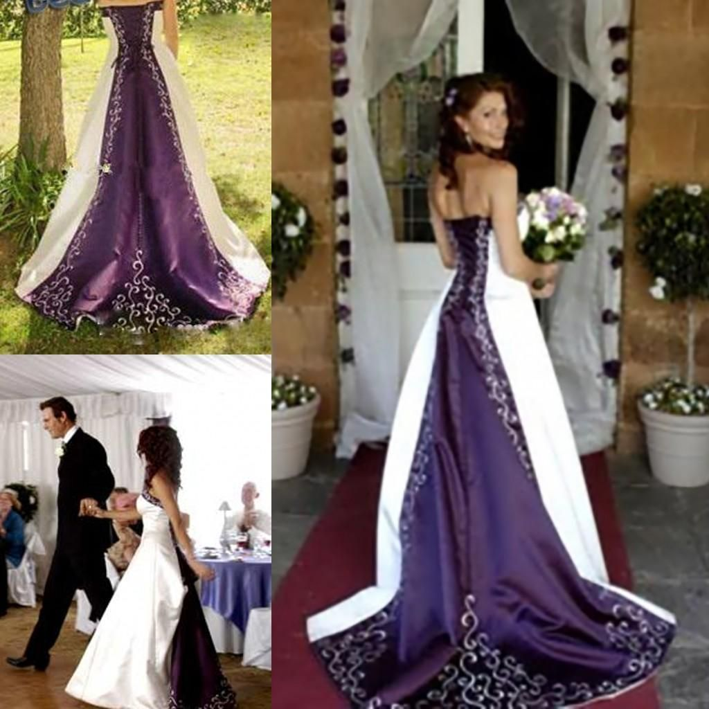 Discount White And Purple Embroidery Satin Wedding Dresses 2019 Elegant Custom Made A Line Strapless Lace Up Back Court Train Court Bridal Gowns Off The Rack We Purple Wedding Dress Princess [ 1024 x 1024 Pixel ]