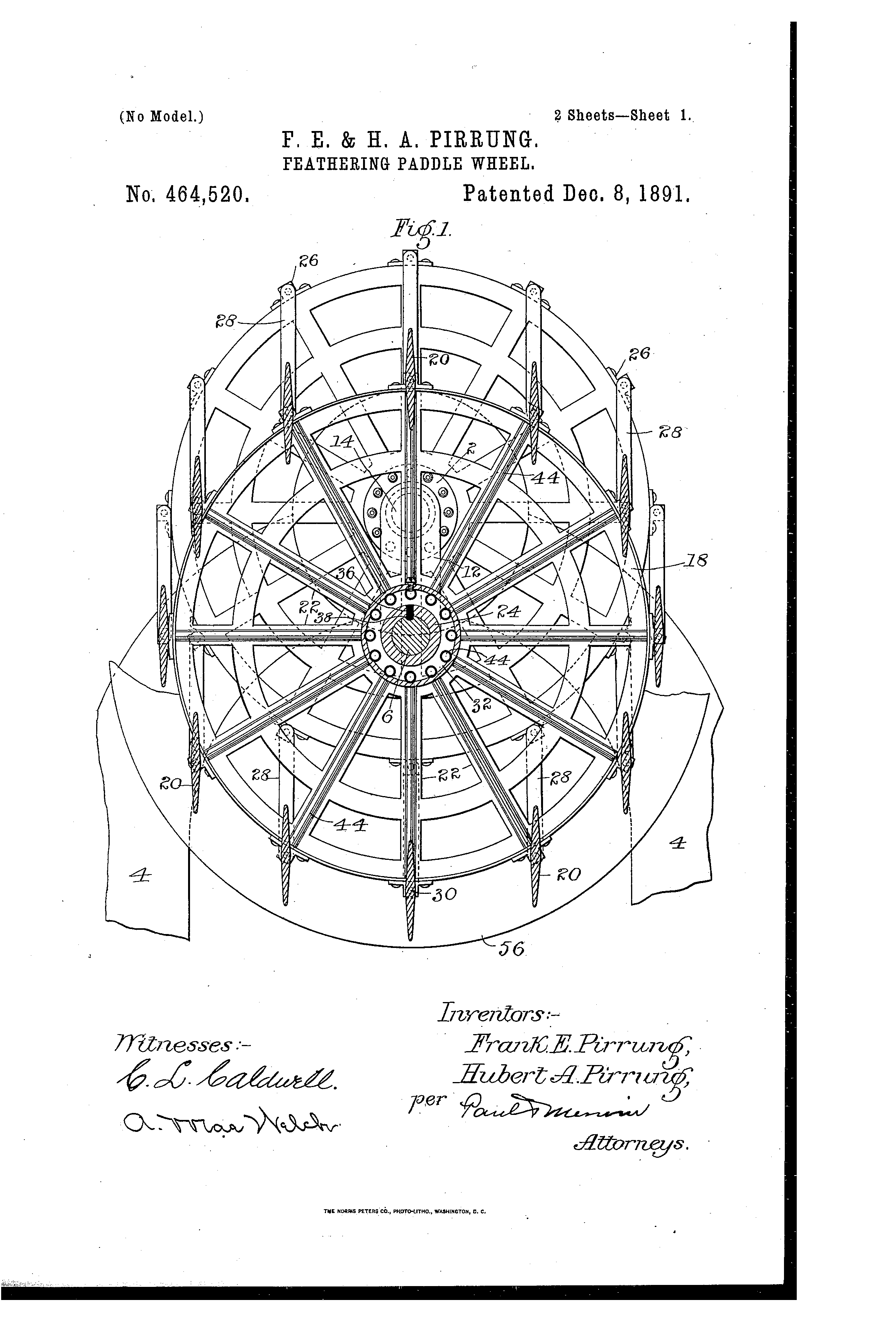 patent us464520 - feathering paddle-wheel