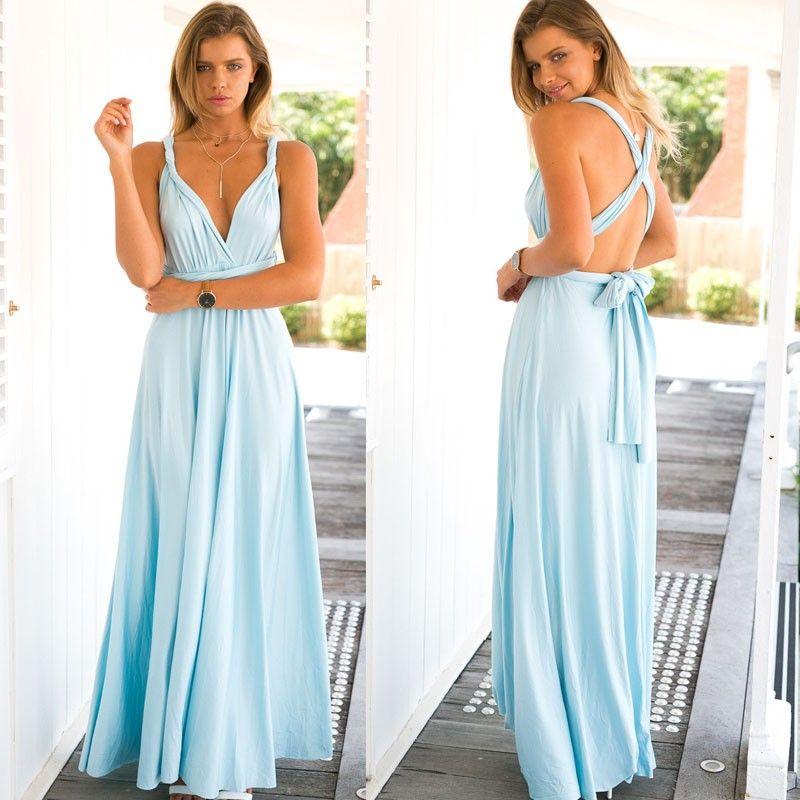 Hot 2016 summer sexy women maxi dress red bandage long dress sexy Multiway Bridesmaids Convertible Dress robe longue femme (2)