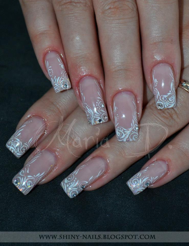 Unghii French Cu Model Alb By Maria D Buscar Con Google Nails